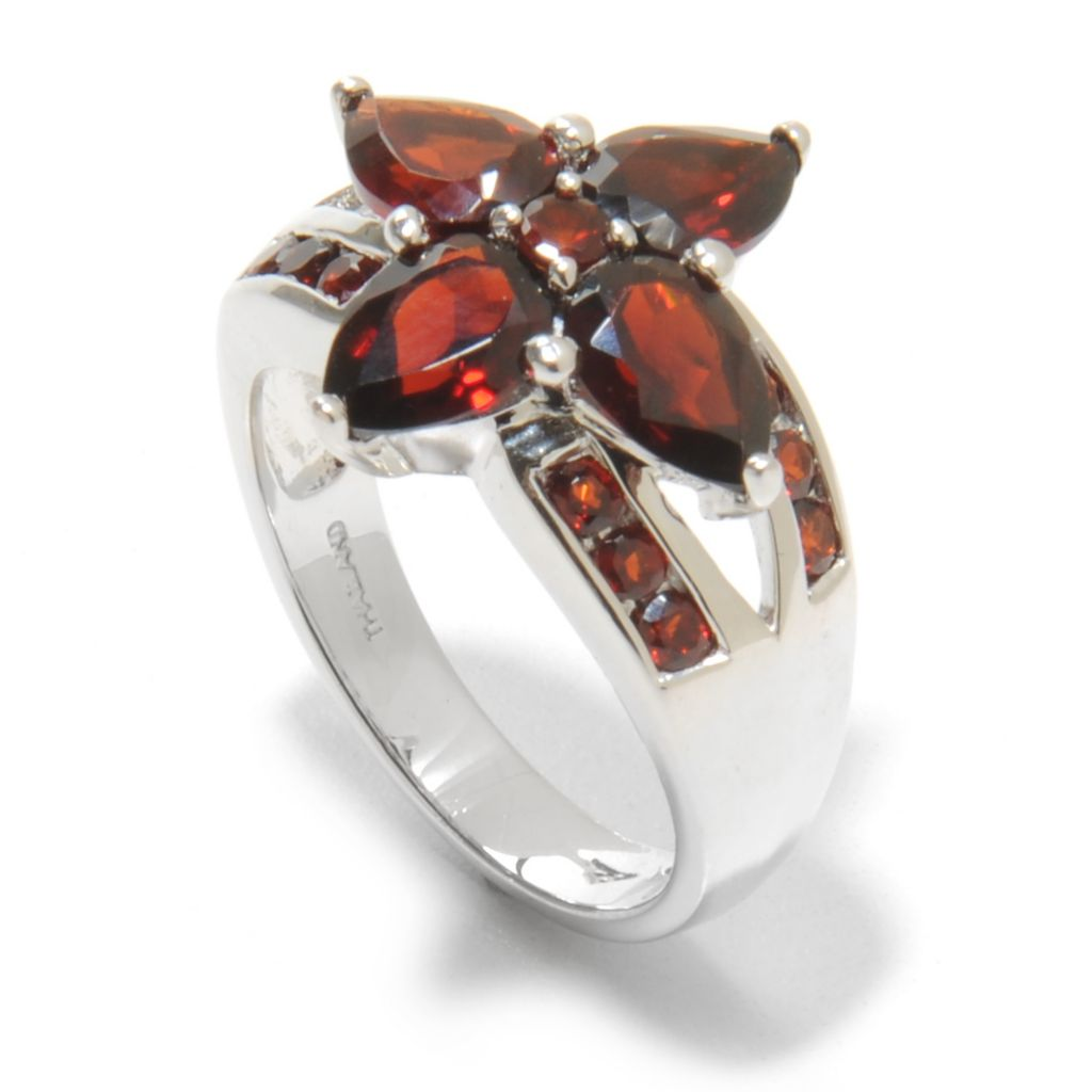 138-836 - Gem Insider Sterling Silver 3.50ctw Pear & Round Shaped Garnet Flower Ring