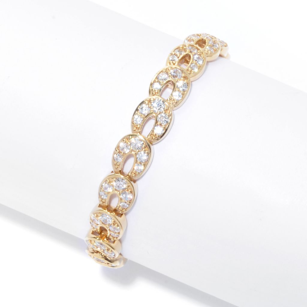 138-838 - Brilliante® 18K Gold Embraced™ Simulated Diamond Circle Link Bracelet