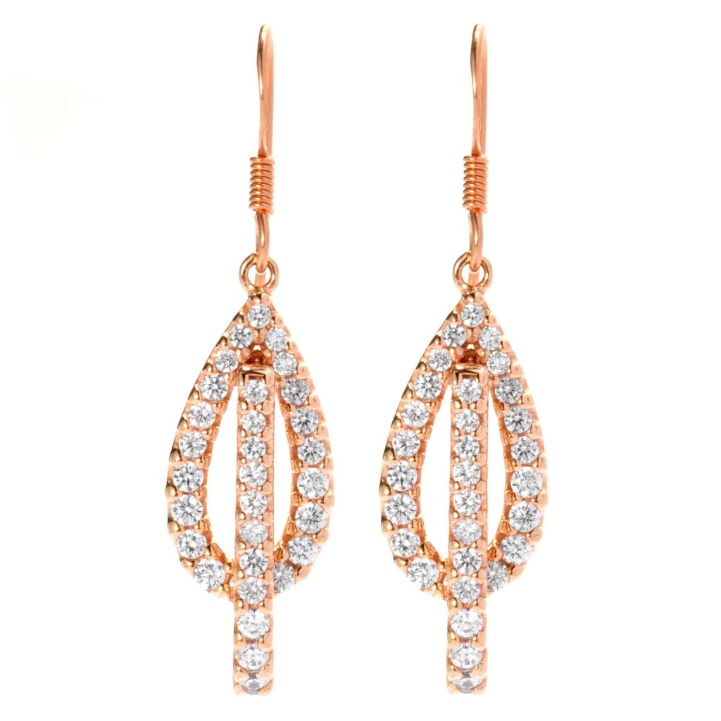"138-839 - Brilliante® 18K Rose Gold Embraced™ 1.75"" 1.52 DEW Simulated Diamond Teardrop Earrings"