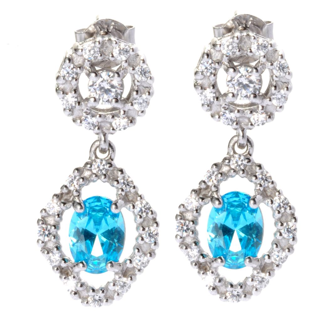 138-840 - Brilliante® Platinum Embraced™ Simulated Blue Topaz & Simulated Diamond Earrings