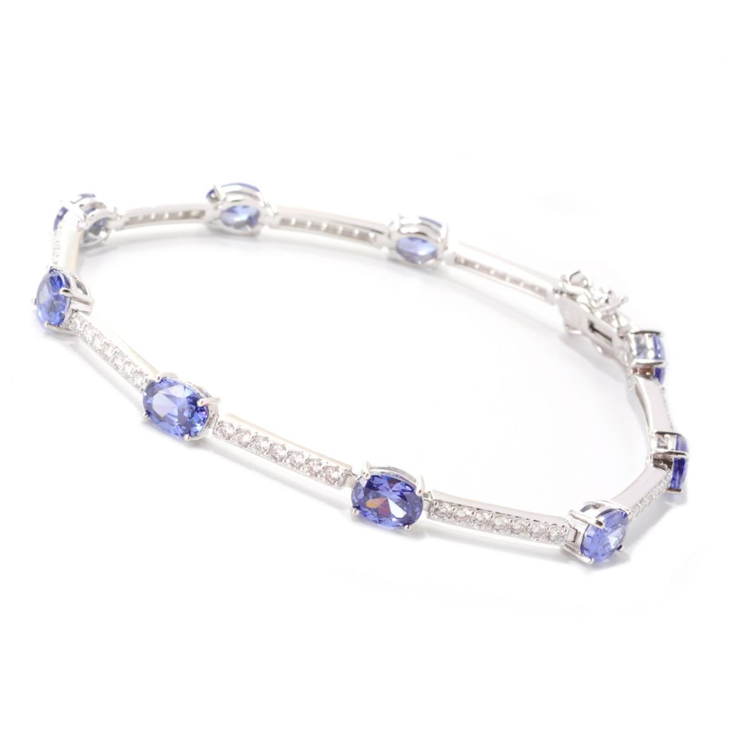 138-844 - Brilliante® Platinum Embraced™ Round & Oval Simulated Gemstone Line Bracelet