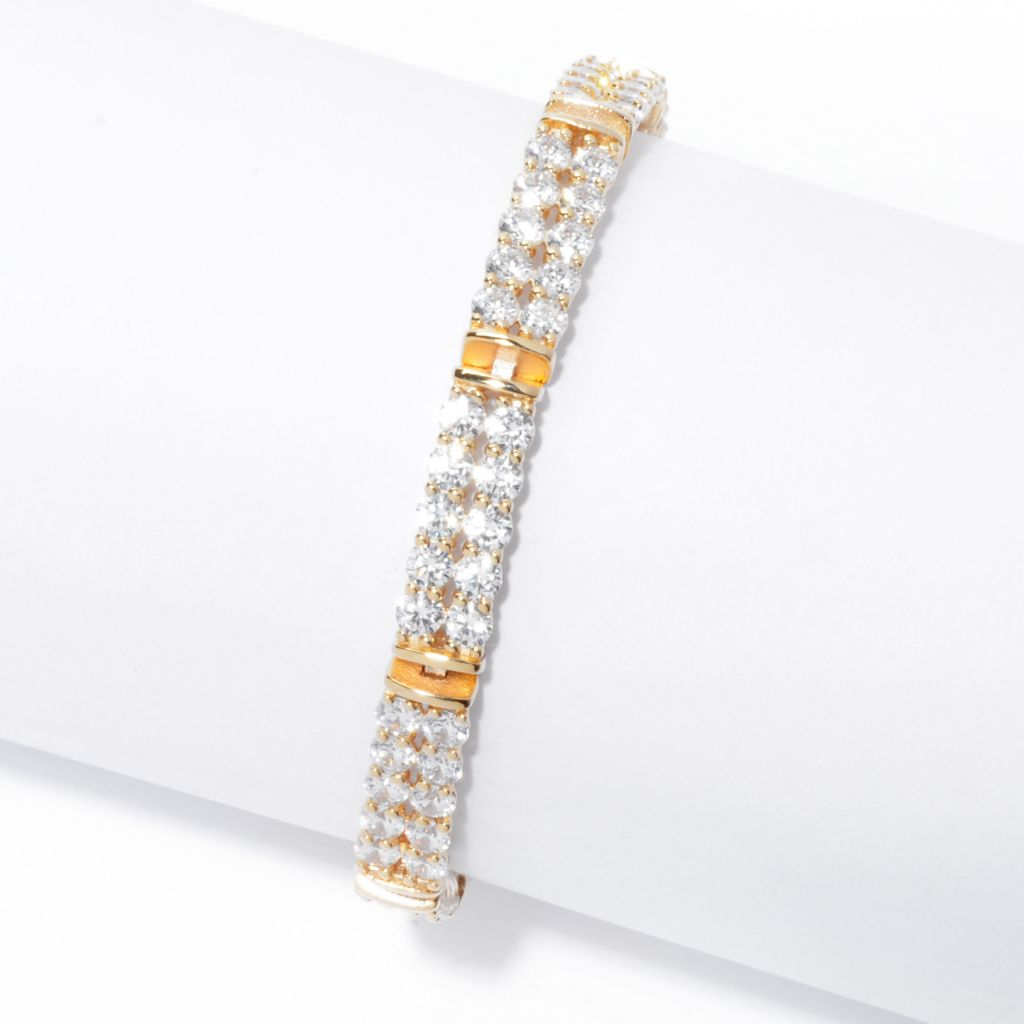 138-845 - Brilliante® 18K Gold Embraced™ Simulated Diamond Double Row Tennis Bracelet