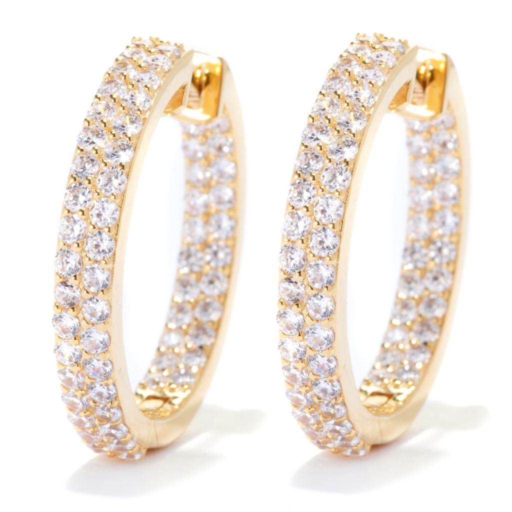 "138-846 - Brilliante® 1"" 2.29 DEW Simulated Diamond Double Row Inside-Out Hoop Earrings"