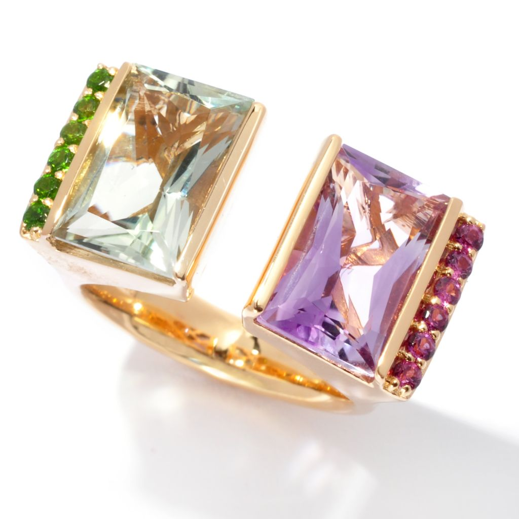 138-849 - Omar Torres 6.99ctw Radiant Cut Multi Gemstone Split Top Ring