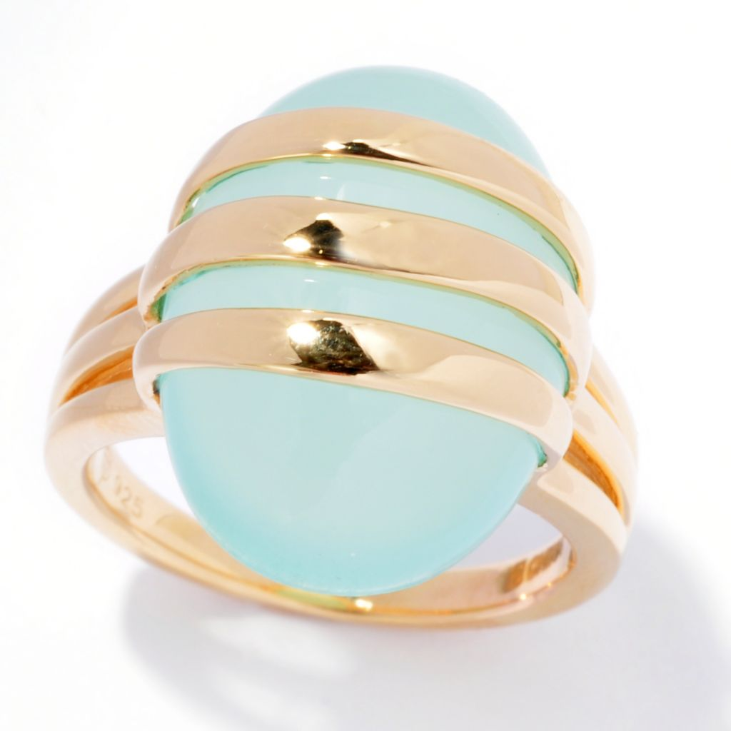 138-850 - Omar Torres 20 x 14mm Light Green Chalcedony Three-Panel Overlay Ring