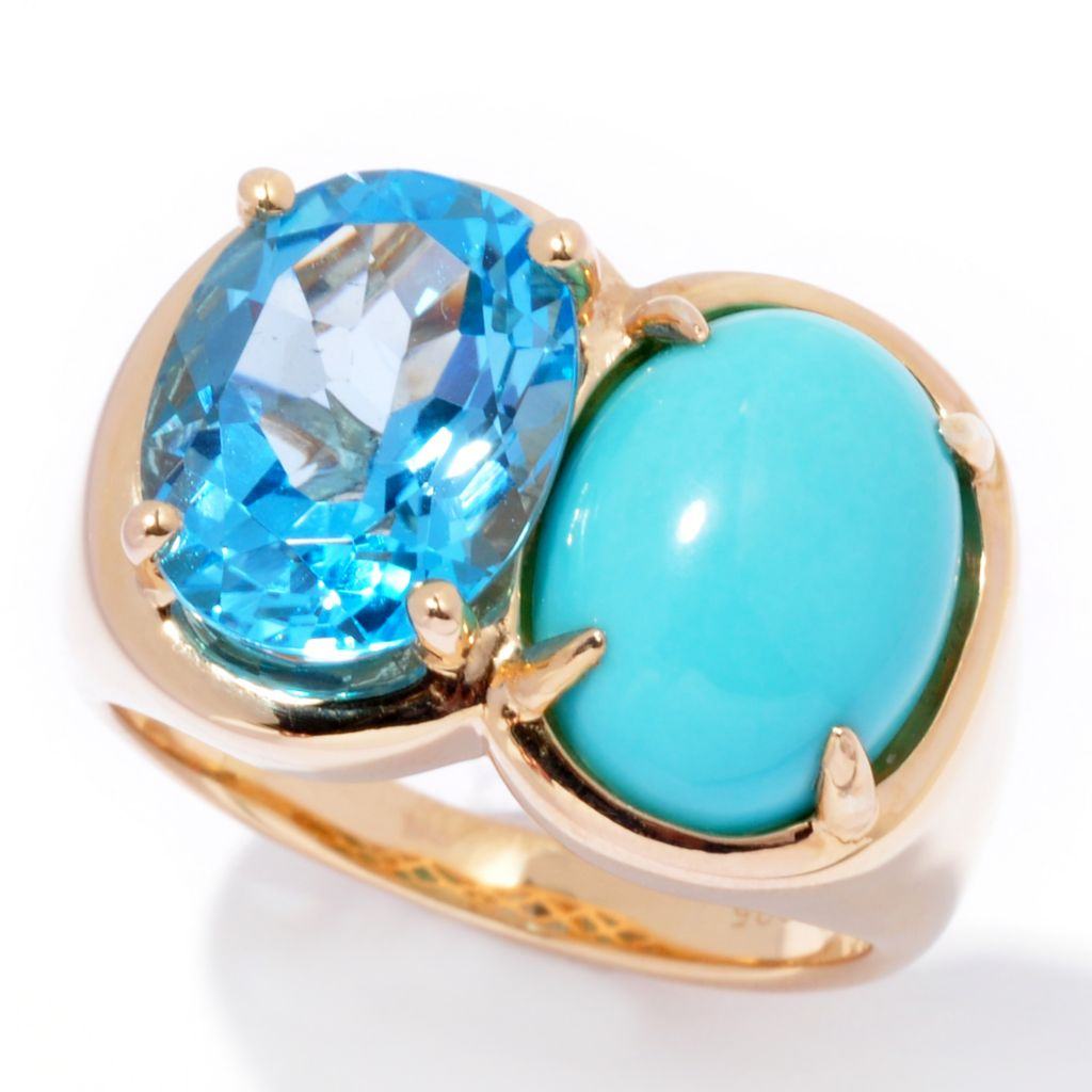 138-851 - Omar Torres 12 x 9mm Oval Sleeping Beauty Turquoise & Swiss Blue Topaz Ring