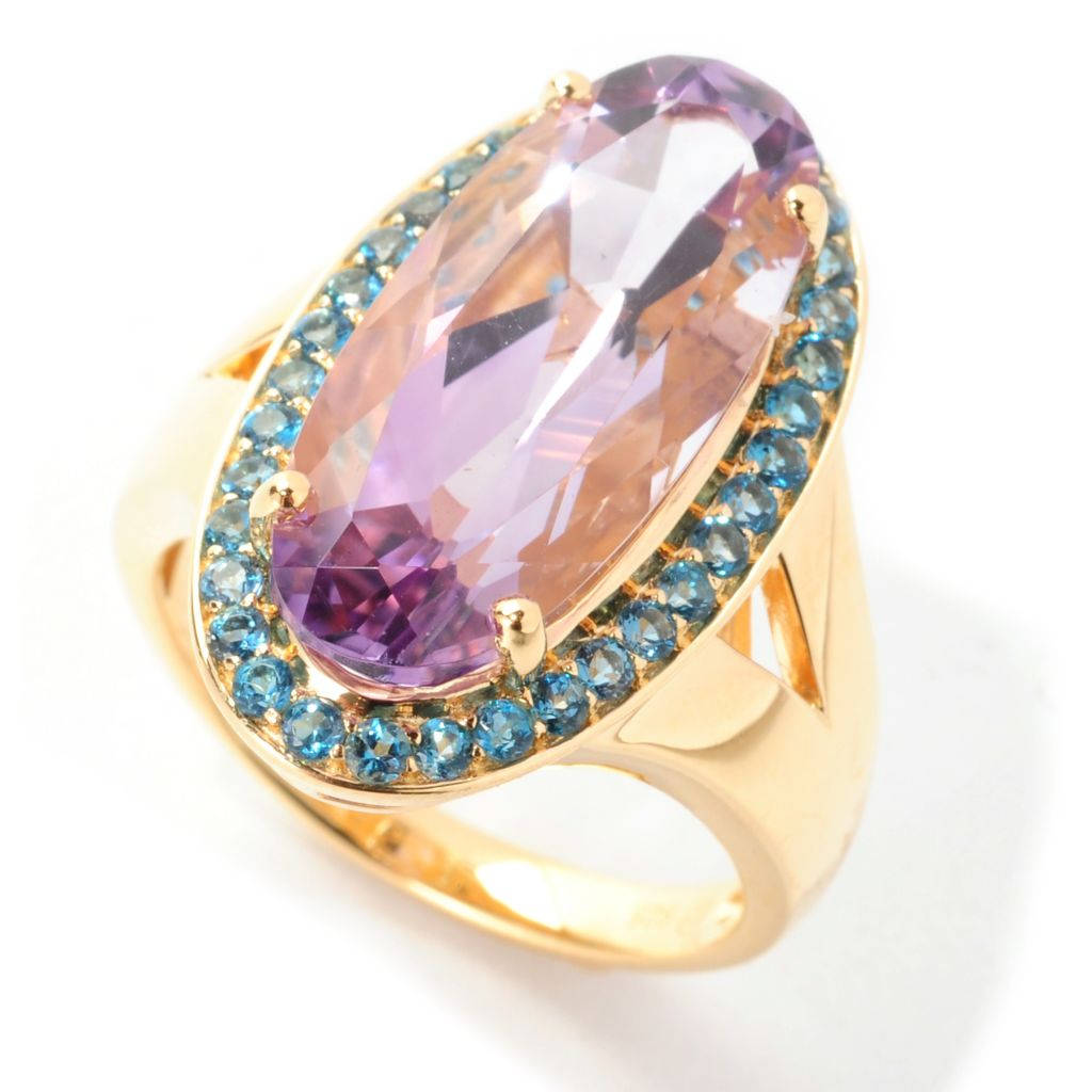 138-852 - Omar Torres 6.84ctw Oval Amethyst & London Blue Topaz Halo Ring