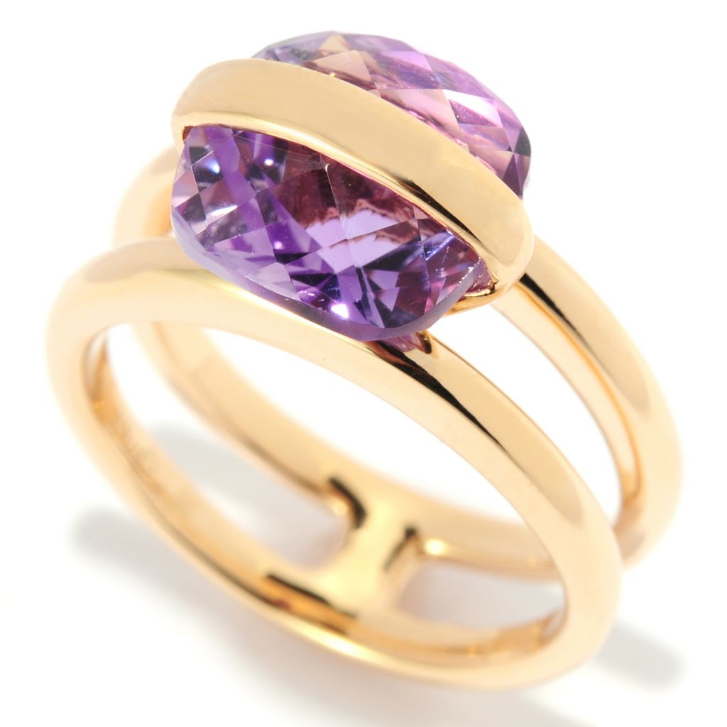 138-854 - Omar Torres 3.40ctw Cushion Shaped Amethyst Panel Overlay Ring