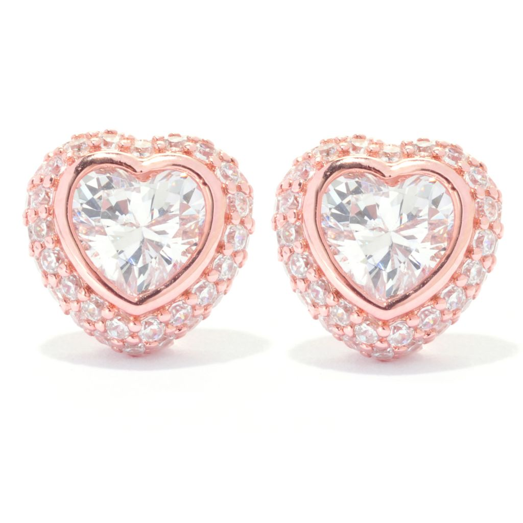 138-855 - Brilliante® 2.68 DEW Heart & Round Shaped Simulated Diamond Stud Earrings