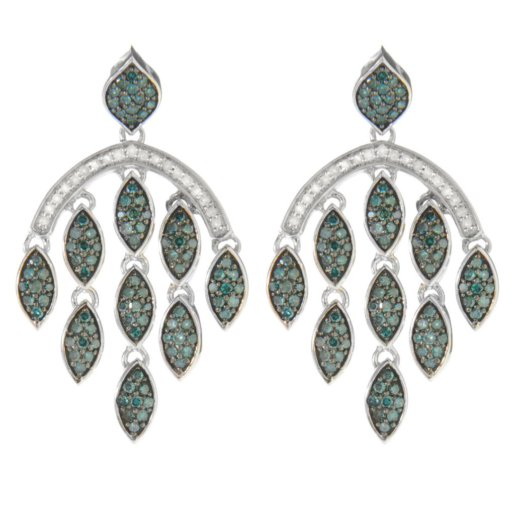 "138-856 - Diamond Treasures Sterling Silver 1.5"" 1.48ctw Blue & White Diamond Dangle Earrings"