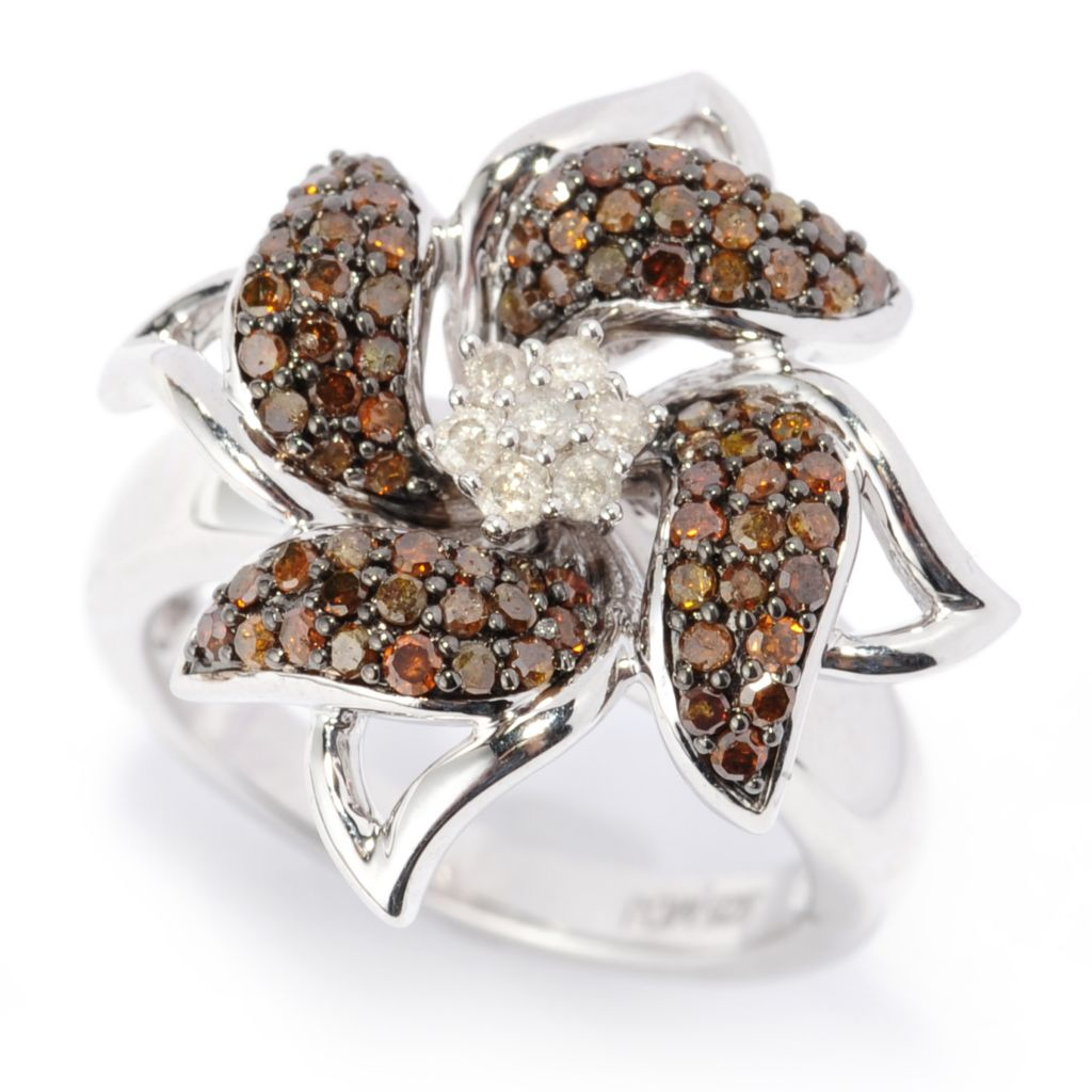 138-857 - Diamond Treasures Sterling Silver 0.73ctw Red & White Diamond Flower Ring