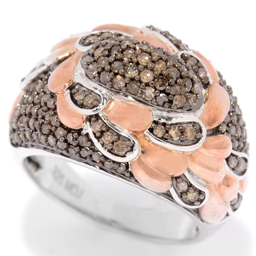 138-860 - Diamond Treasures 24K Rose Gold Embraced™ 1.00ctw Champagne Diamond Ring