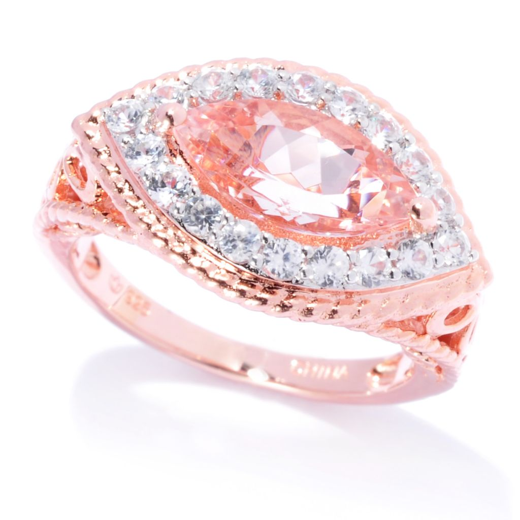 138-861 - NYC II 2.50ctw Marquise Shaped Morganite & White Zircon Ring