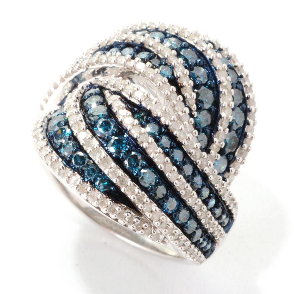 138-862 - Diamond Treasures Sterling Silver 2.46ctw Fancy Color Diamond Interlocking Ring