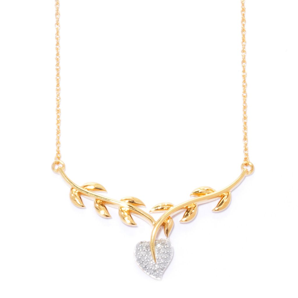 "138-864 - Diamond Treasures 14K Gold Embraced™ 19.5"" 0.12ctw Diamond Heart & Branch Necklace"
