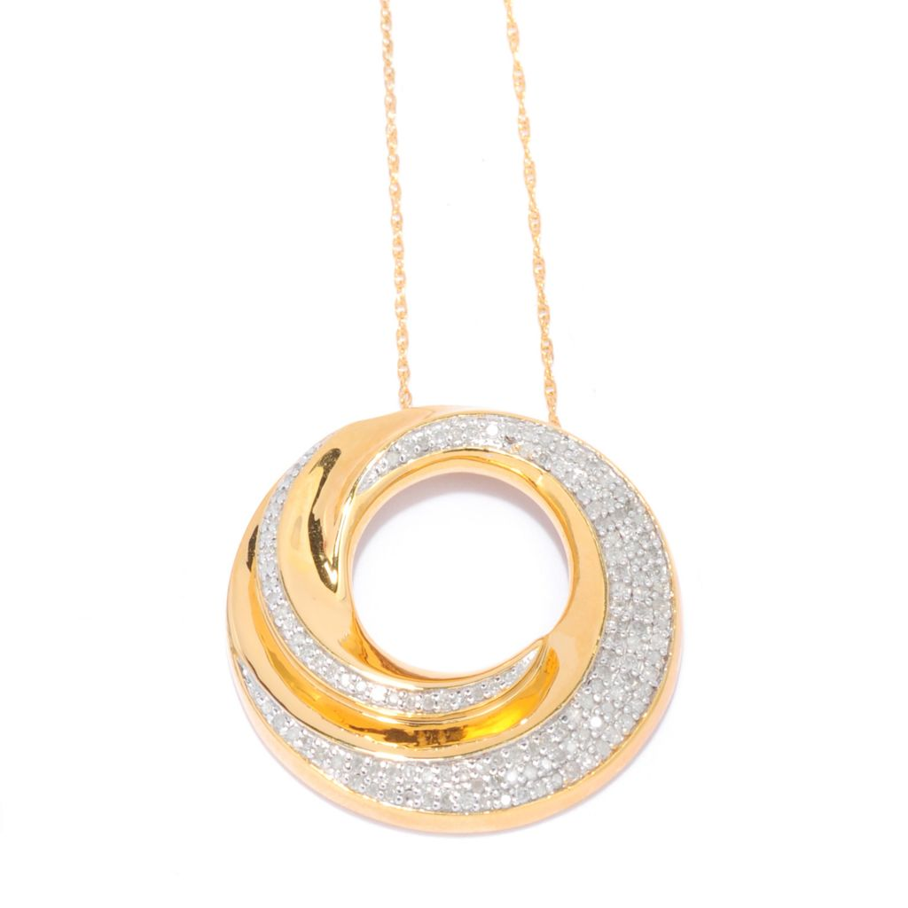 "138-865 - Diamond Treasures 14K Gold Embraced™ 0.48ctw Diamond Swirl Pendant w/ 18"" Chain"