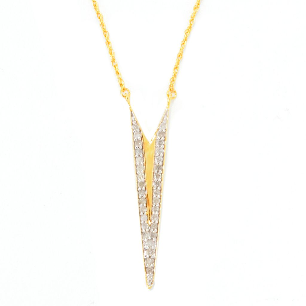"138-870 - Diamond Treasures 14K Gold Embraced™ 0.25ctw Diamond V-Shaped Pendant w/ 18"" Chain"