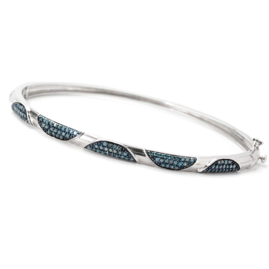 138-871 - Diamond Treasures Fancy Diamond Half-Circle Design Oval Bangle Bracelet