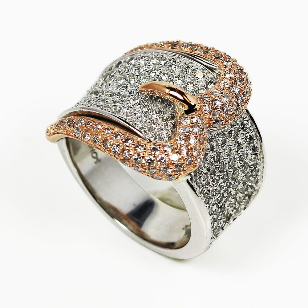 138-873 - Sonia Bitton Galerie de Bijoux 14K White & Rose Gold 1.78ctw Diamond Buckle Ring