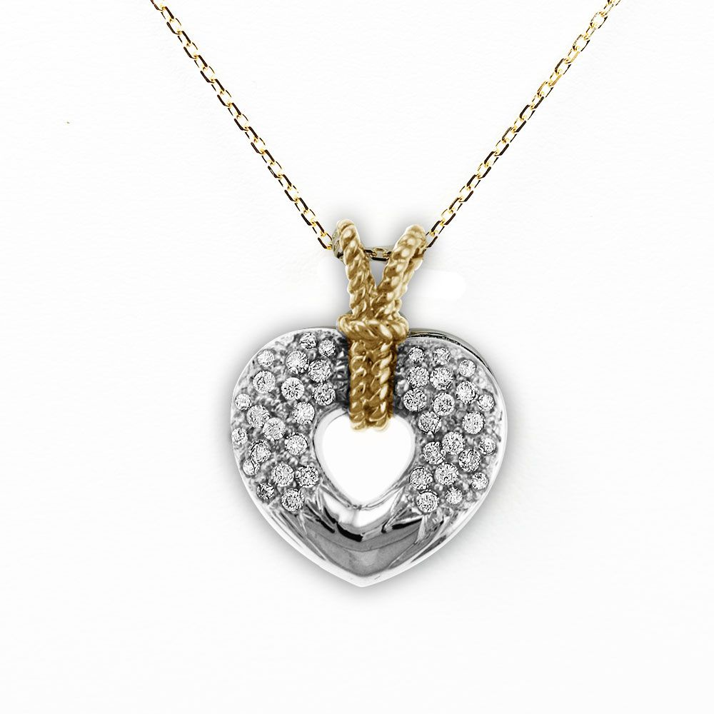 138-875 - Sonia Bitton Galerie de Bijoux 14K White & Yellow Gold 0.28ctw Diamond Heart Knot Pendant w/ Chain