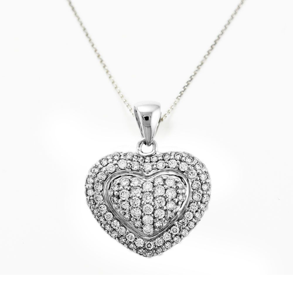 "138-878 - Sonia Bitton Galerie de Bijoux 14K White Gold 0.87ctw Diamond Heart Pendant w/ 18"" Chain"