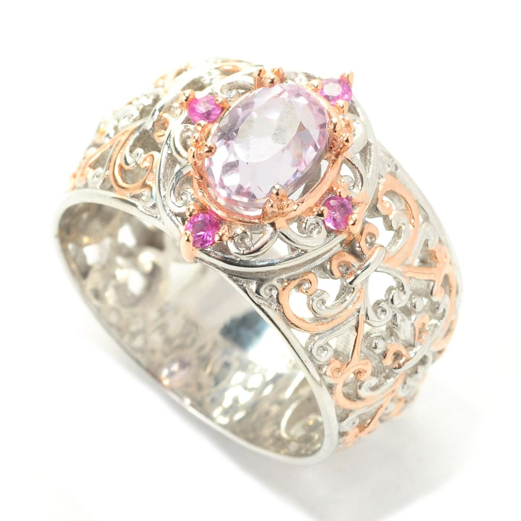 138-882 - Gems en Vogue II 1.42ctw Oval Kunzite & Pink Sapphire Filigree Band Ring