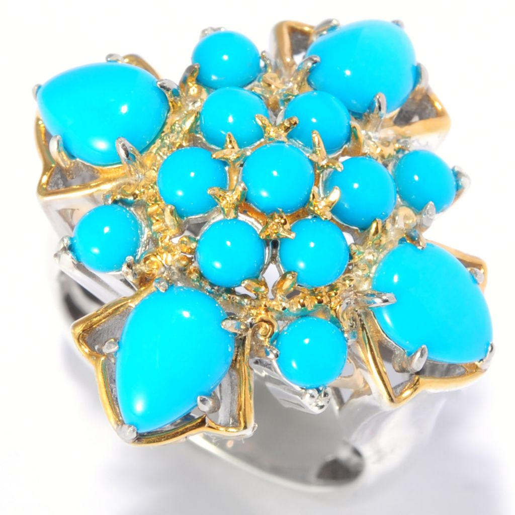 138-883 - Gems en Vogue II Pear Shaped & Round Sleeping Beauty Turquoise Cross Ring