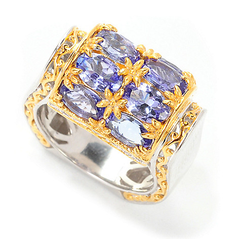 138-886 - Gems en Vogue 3.44ctw Oval Tanzanite Barrel Top Polished Ring