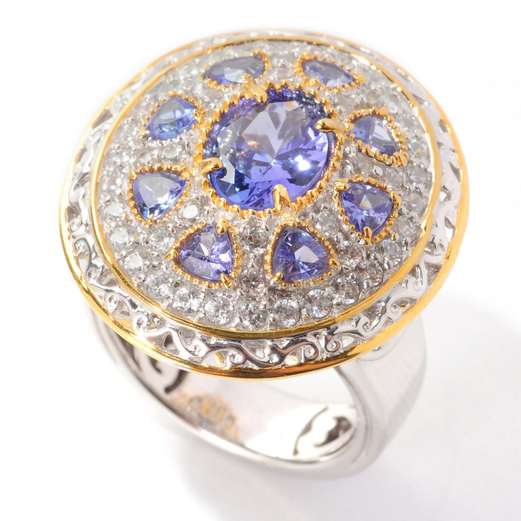 138-887 - Gems en Vogue II 3.33ctw Tanzanite & White Zircon Medallion Ring