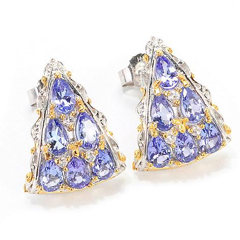 138-888 - Gems en Vogue 2.04ctw Pear Shaped Tanzanite & White Sapphire J-Hoop Earrings