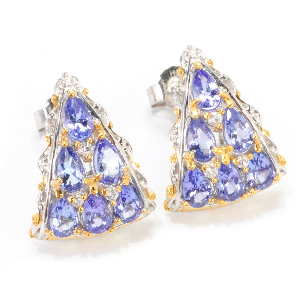 138-888 - Gems en Vogue 2.04ctw Pear Shaped Tanzanite & White Sapphire J-Hoop Earrings
