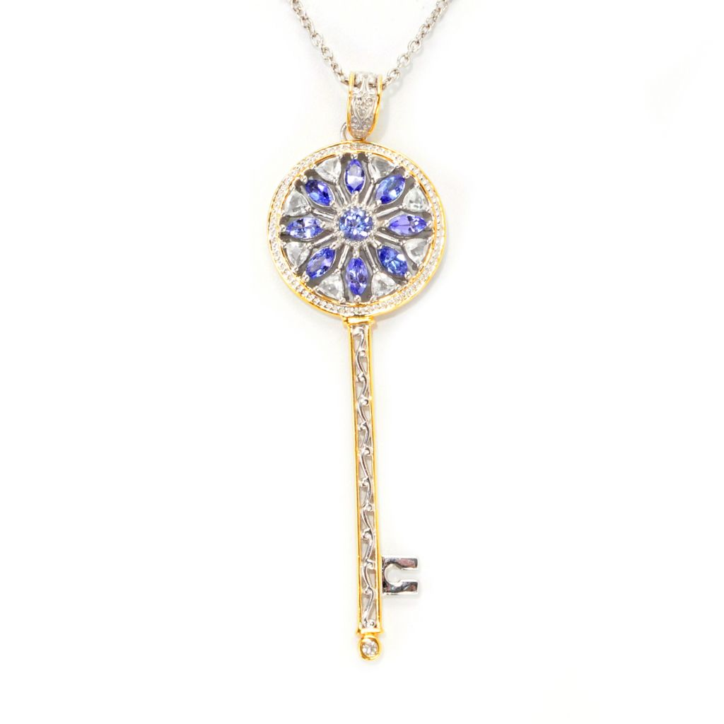 138-889 - Gems en Vogue 3.11ctw Tanzanite, White Topaz & White Sapphire Key Pendant