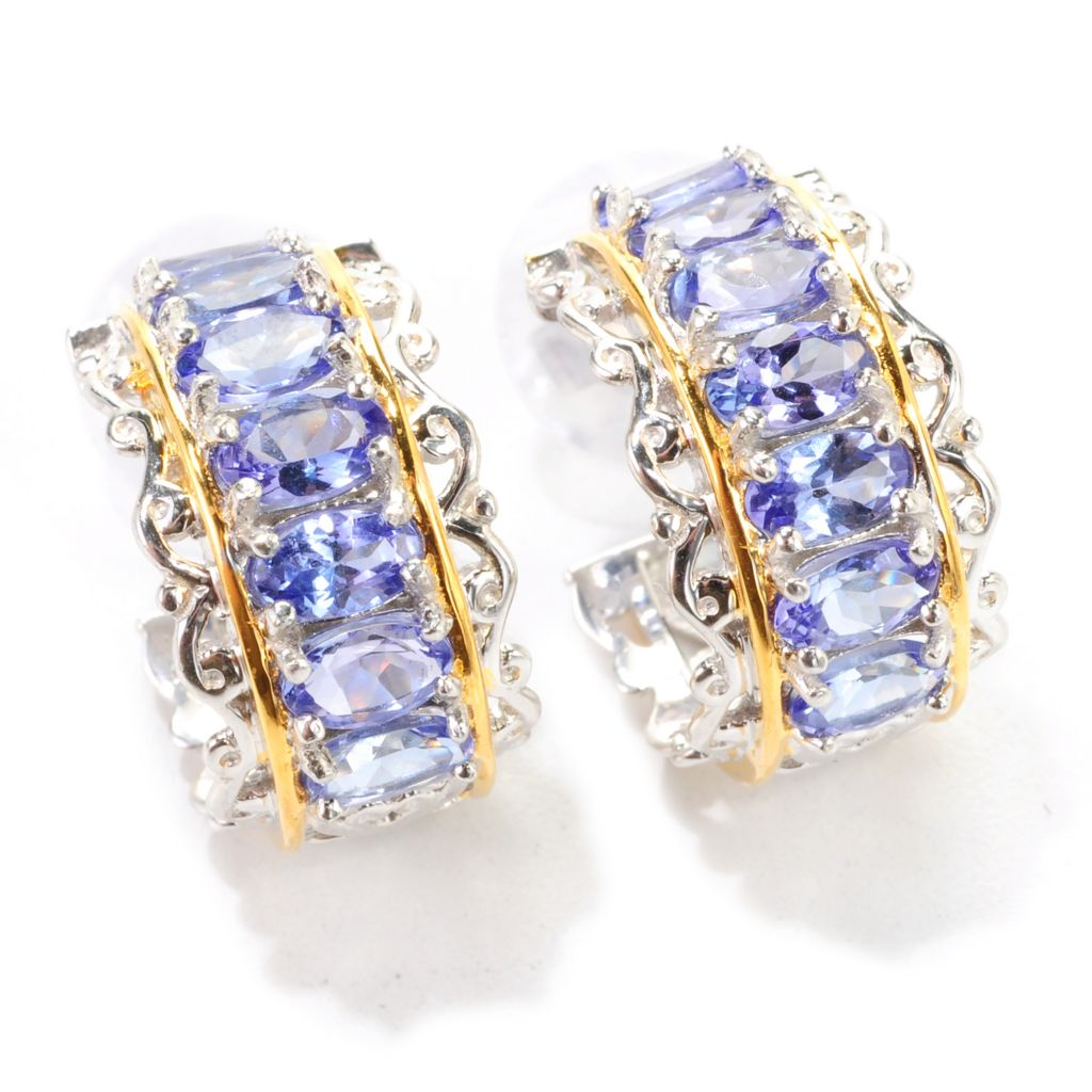 138-890 - Gems en Vogue II 3.64ctw Oval Tanzanite Huggie Hoop Earrings