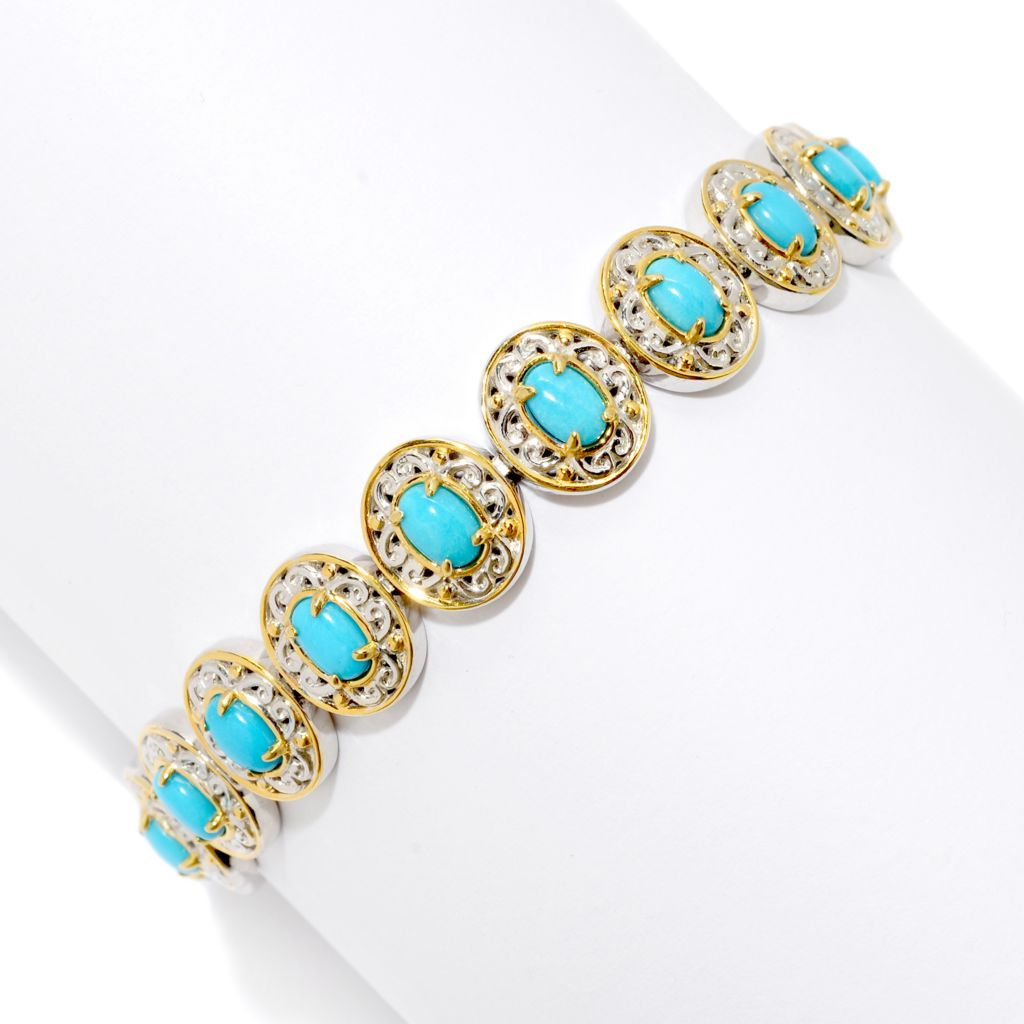 138-891 - Gems en Vogue II Oval Sleeping Beauty Turquoise North-South Tennis Bracelet