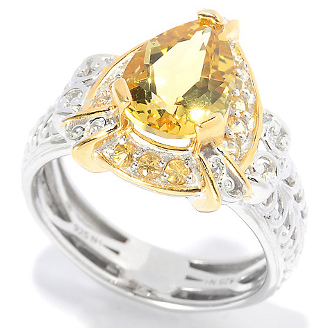 138-893 - Gems en Vogue 1.81ctw Canary Beryl & Yellow Sapphire Polished Ring