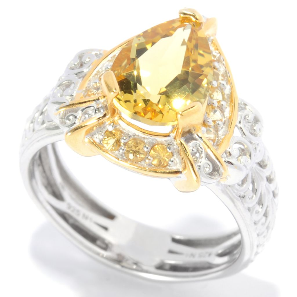 138-893 - Gems en Vogue II 1.81ctw Canary Beryl & Yellow Sapphire Polished Ring
