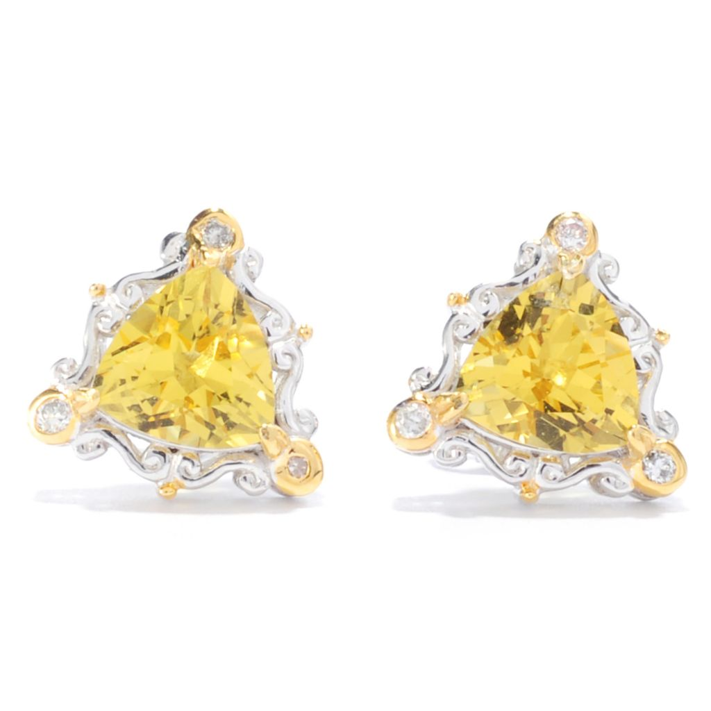 138-894 - Gems en Vogue 1.24ctw Trillion Canary Beryl & Diamond Stud Earrings