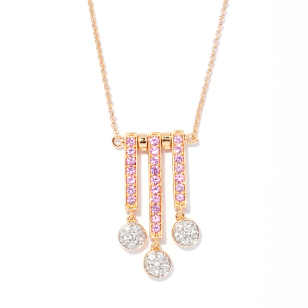 "138-896 - Omar Torres 20"" 1.23ctw Pink & White Sapphire Dangle Necklace"