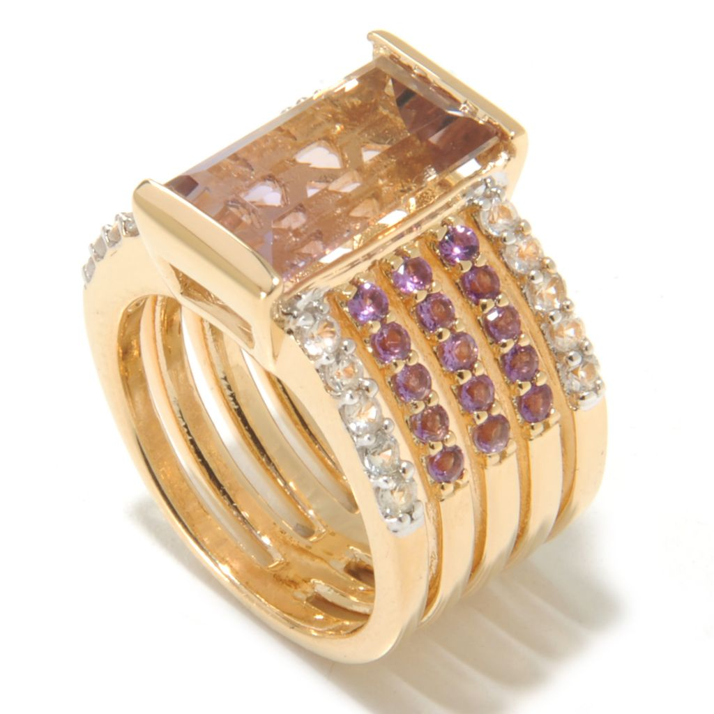 138-897 - Omar Torres 4.57ctw Ametrine, White Sapphire & Amethyst Five-Row Wide Band Ring