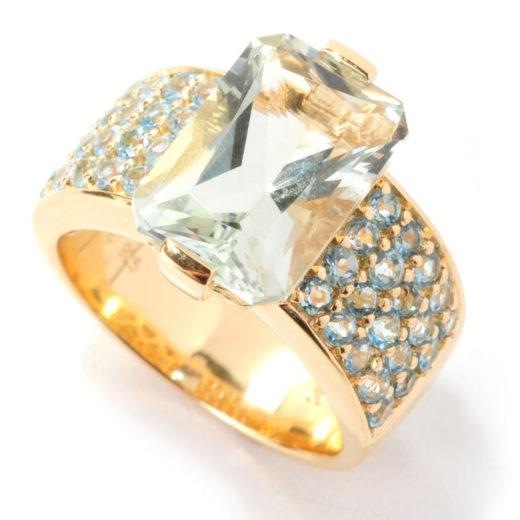 138-898 - Omar Torres 5.28ctw Prasiolite & Swiss Blue Topaz Wide Band Ring