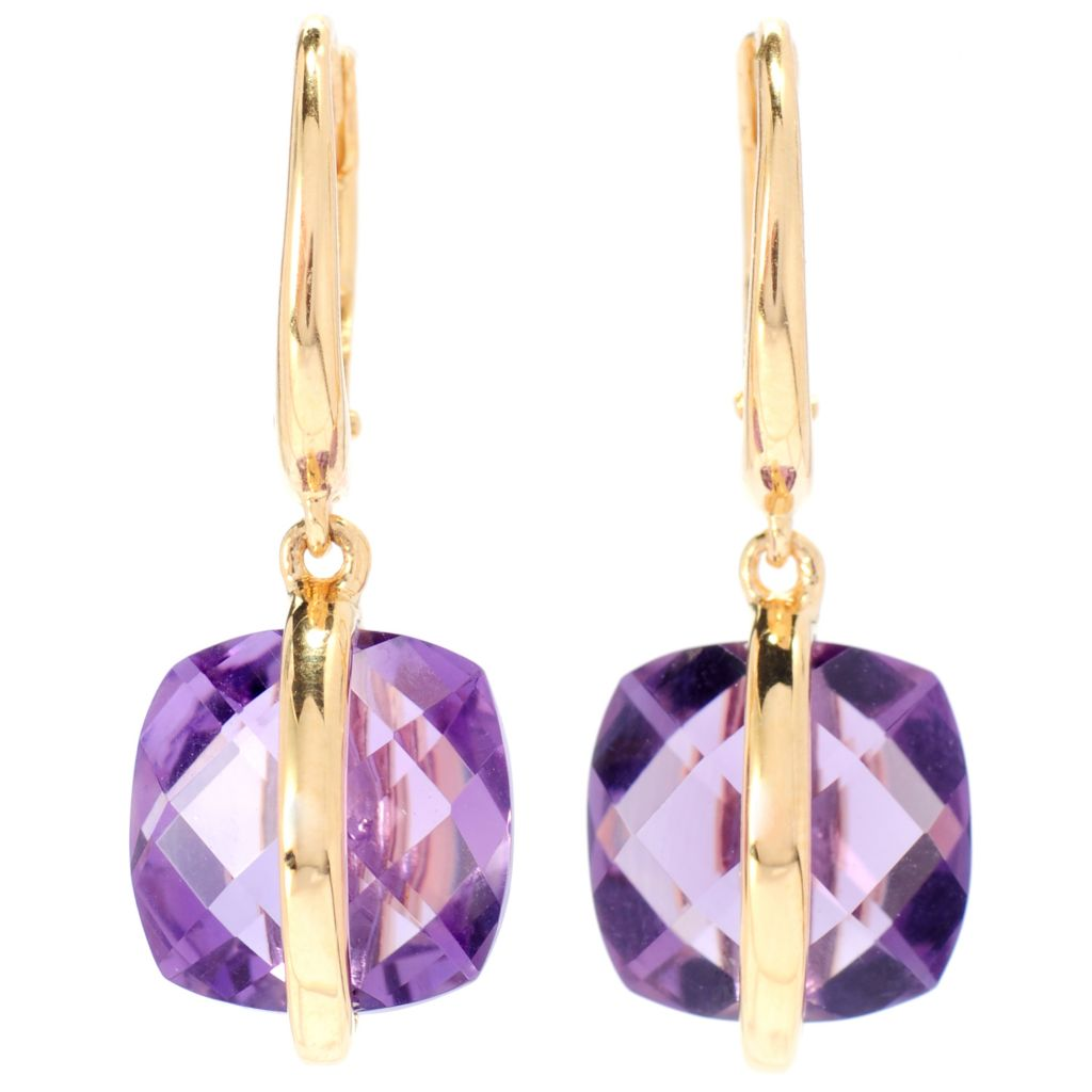 "138-899 - Omar Torres 1"" 6.40ctw Amethyst Briolette Panel Overlay Dangle Earrings"