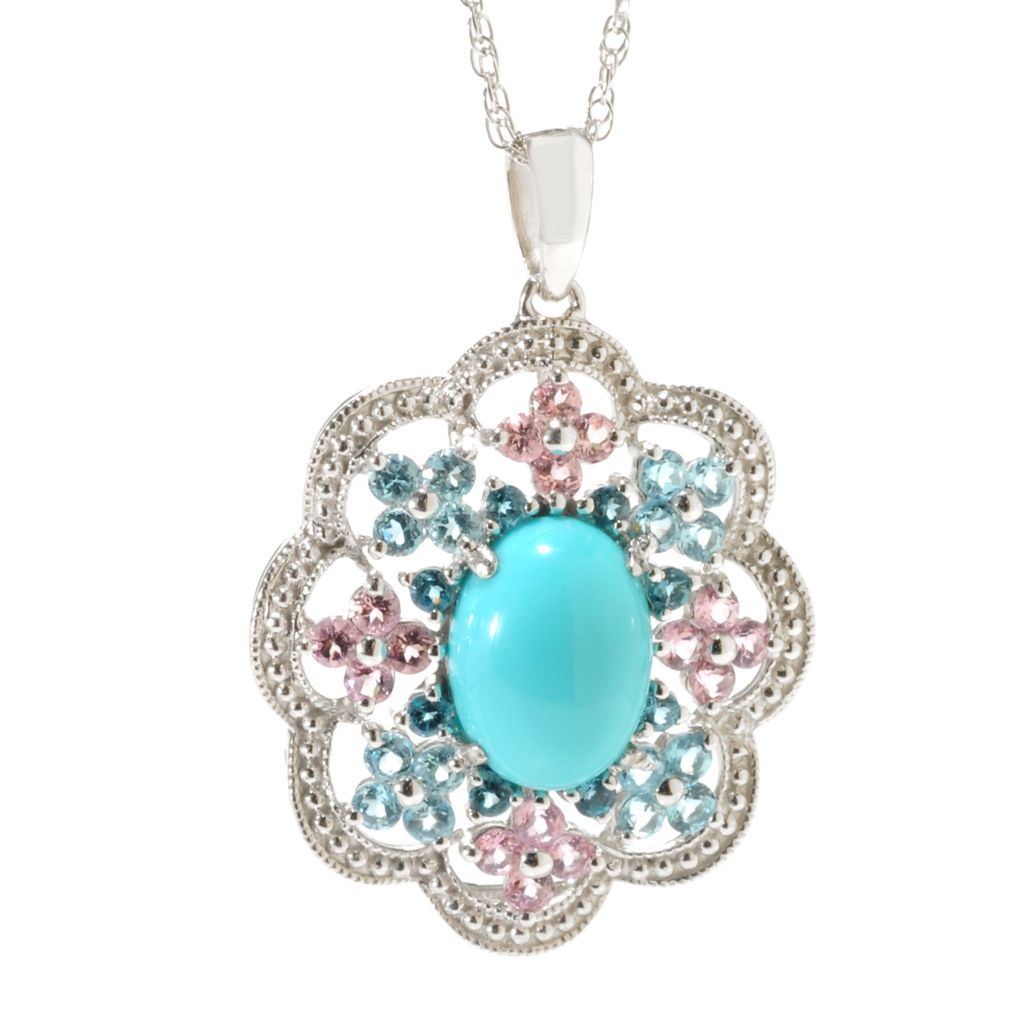 138-902 - Gem Insider Sterling Silver 11 x 8mm Sleeping Beauty Turquoise & Multi Gem Pendant