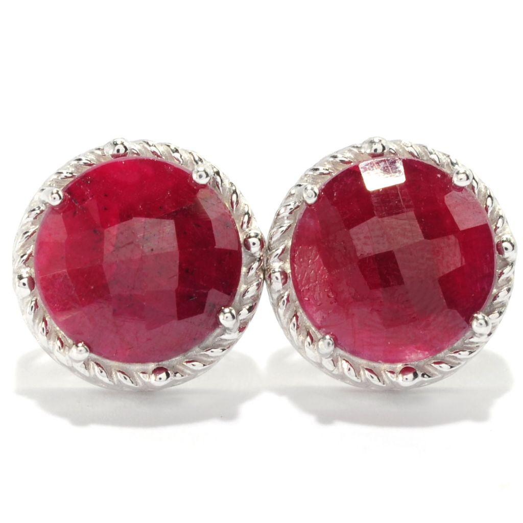 138-906 - NYC II 12mm Round Dyed Red Corundum Stud Earrings