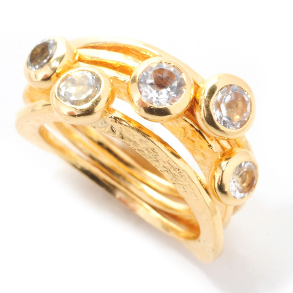 138-907 - Toscana Italiana 18K Gold Embraced™ Set of Four 1.00ctw Topaz Stack Band Rings