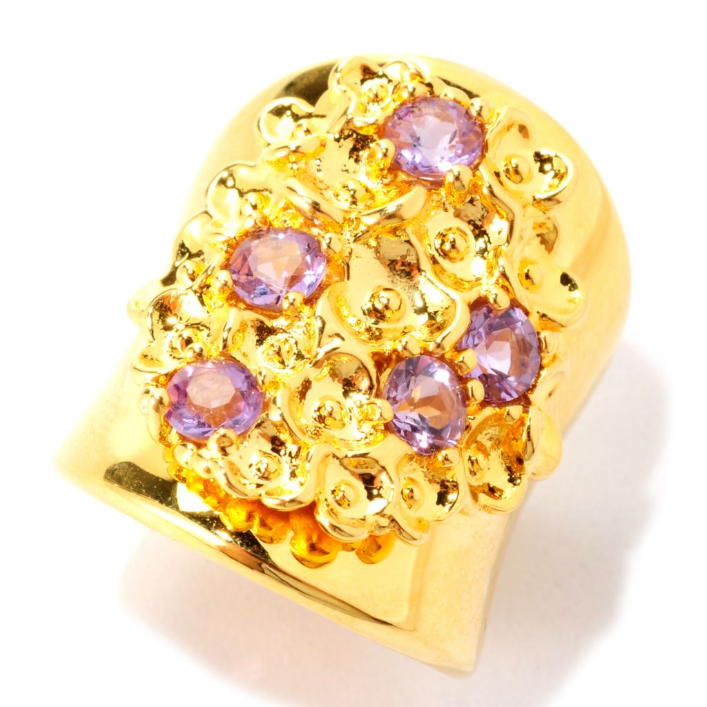 138-908 - Toscana Italiana 18K Gold Embraced™ Gemstone Flower Elongated Wide Band Ring