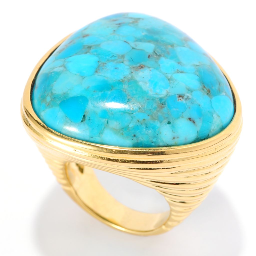 138-911 - Toscana Italiana 18K Gold Embraced™ 30mm Trillion Turquoise Ribbed Shank Ring