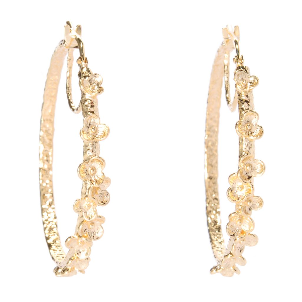 "138-912 - Toscana Italiana 18K Gold Embraced™ 1.5"" Polished & Hammered Flower Hoop Earrings"
