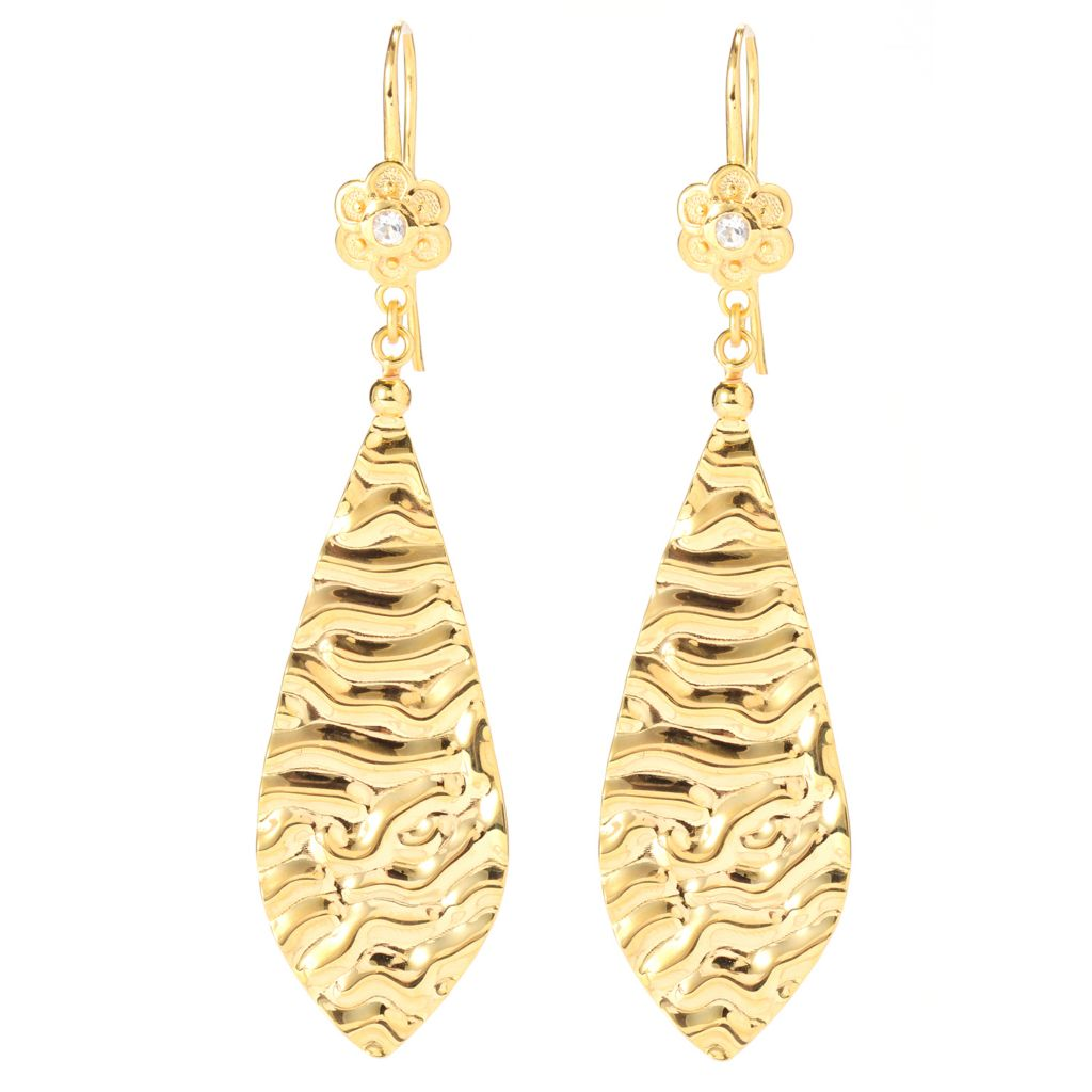 "138-913 - Toscana Italiana 18K Gold Embraced™ 3"" White Topaz Flower Hammered Teardrop Earrings"