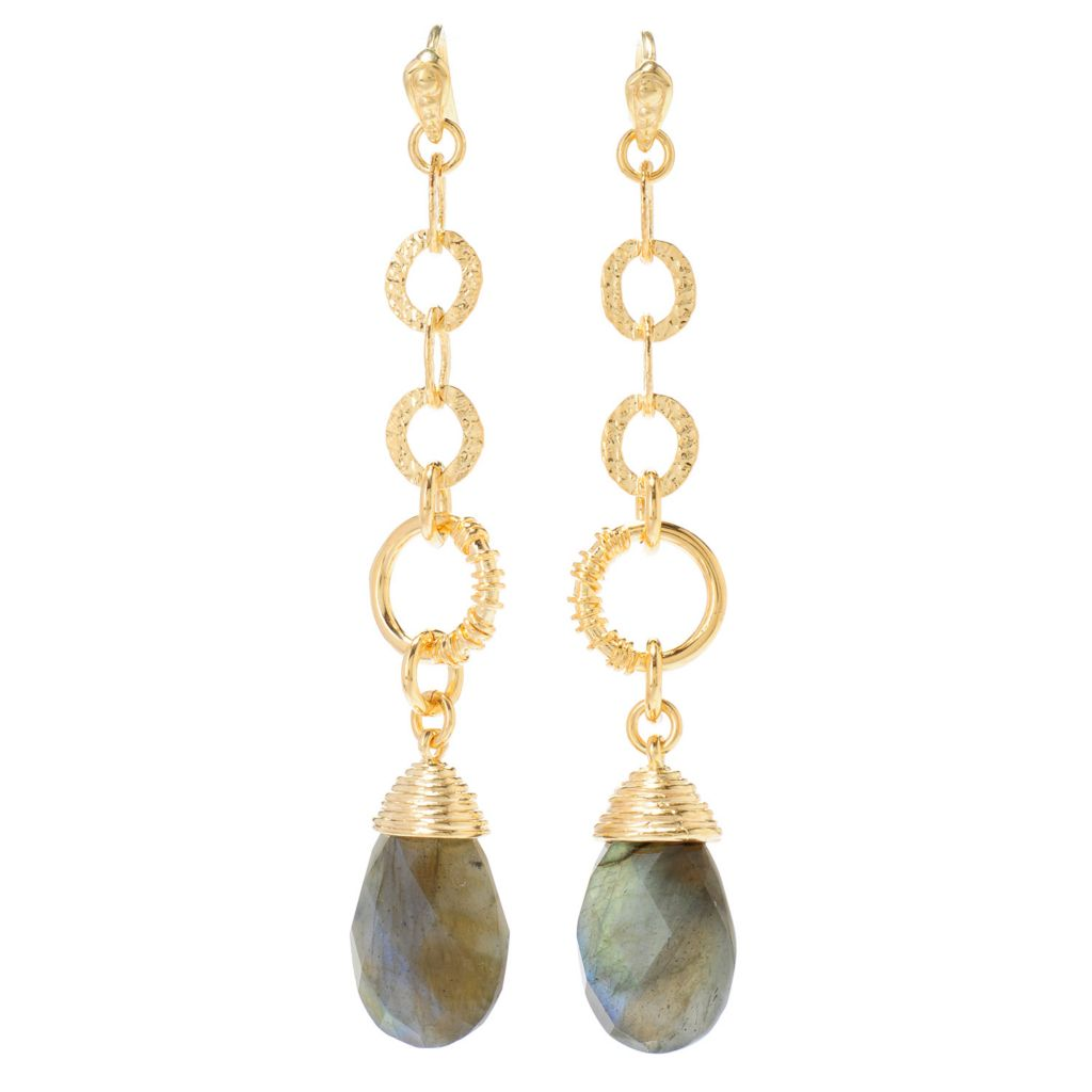 "138-914 - Toscana Italiana 18K Gold Embraced™ 2.75"" 18 x 12mm Gemstone Briolette Link Drop Earrings"
