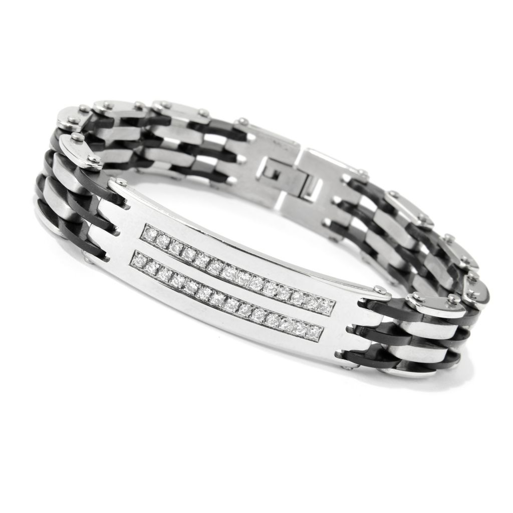 "138-925 - Steel Impact™ Men's Stainless Steel & Black Rubber 8.25"" Simulated Diamond Link Bracelet"
